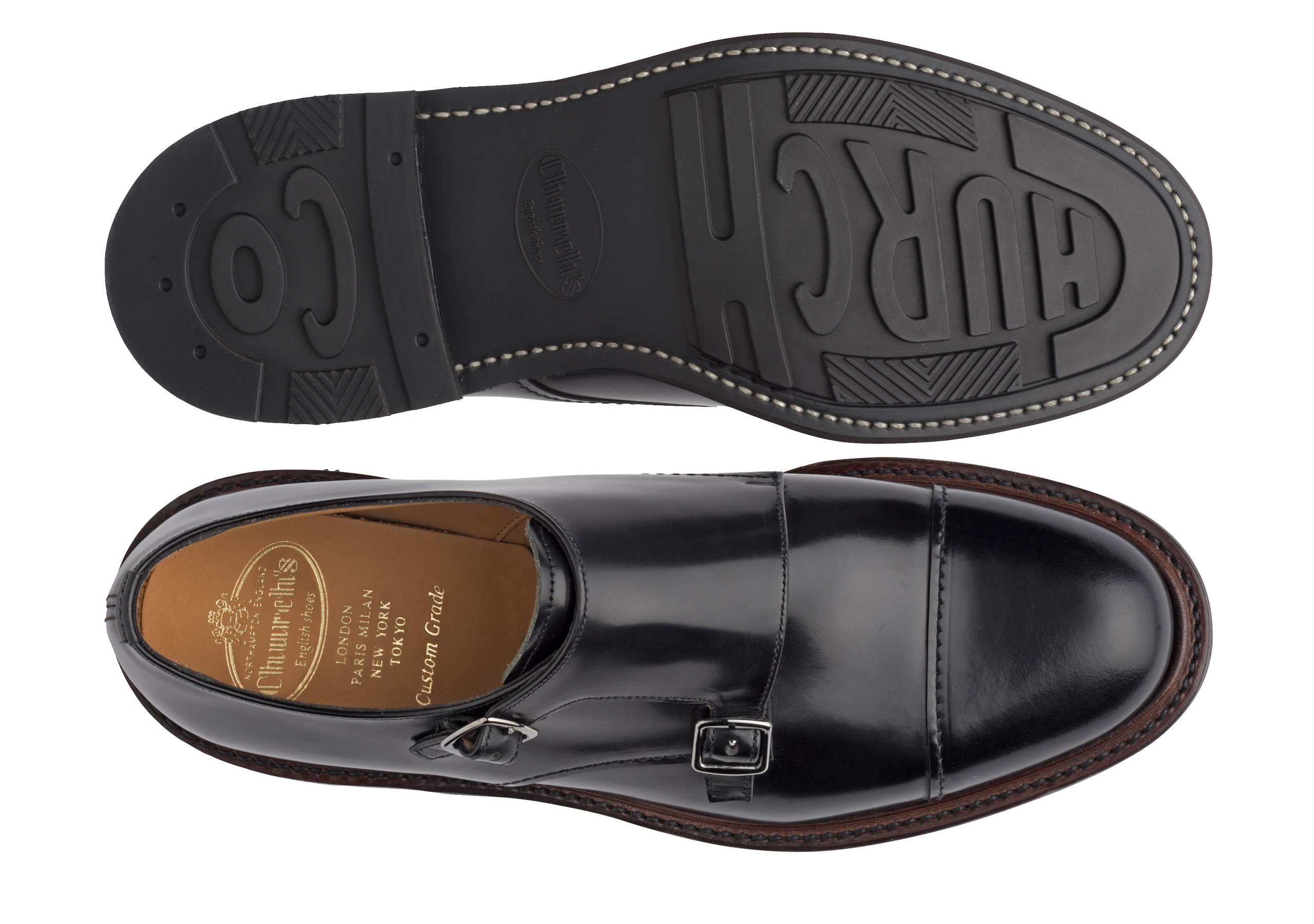 Wadebridge Church's Polished Binder Monk Strap Black
