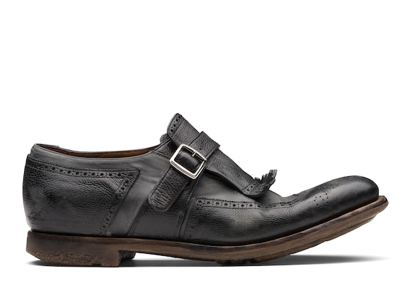 Church's Shanghai Glacè Calf and Nylon Buckle Loafer Black/anthracite
