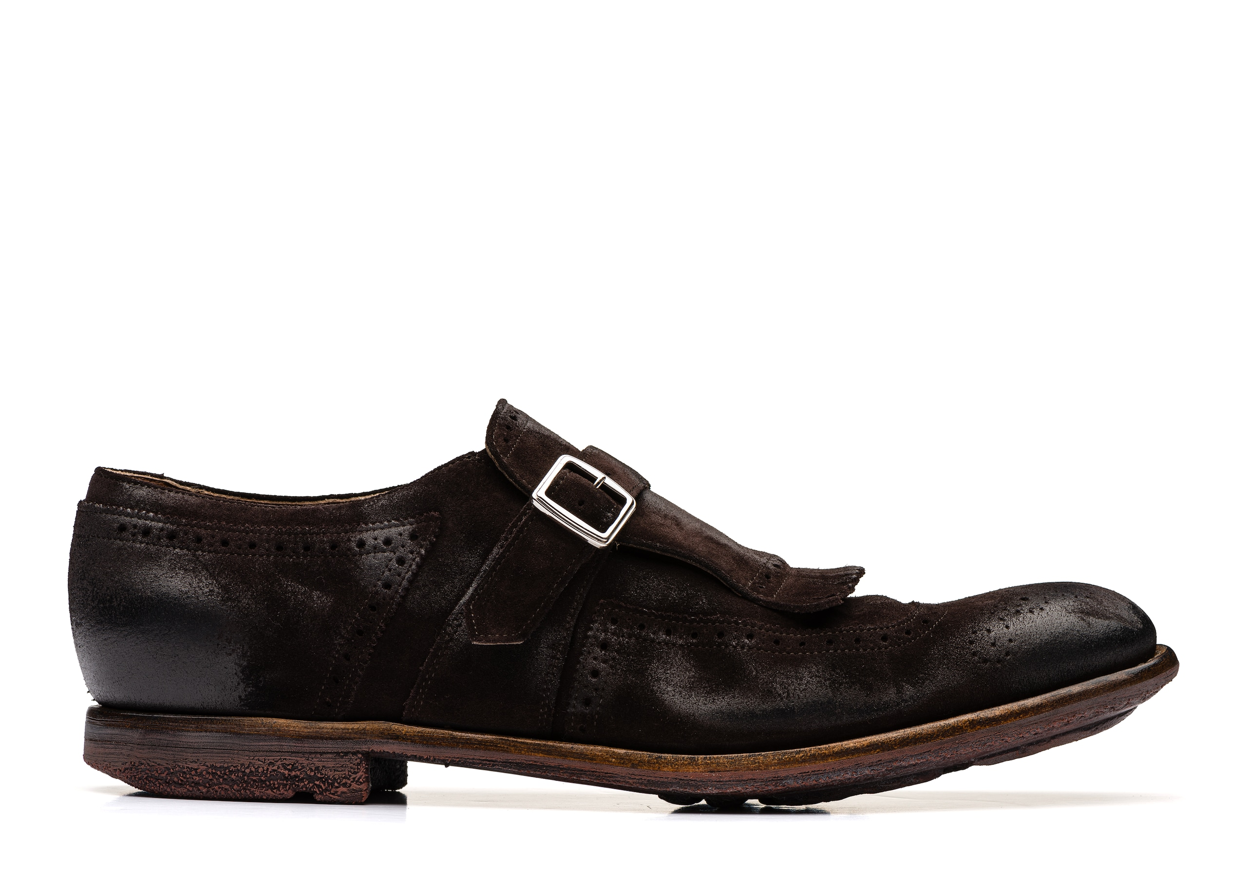 Shanghai Church's Vintage Suede Buckle Loafer Brown