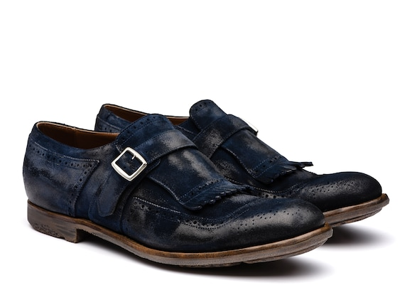 Church's true Mocassin à Boucle en Veau Velours Vintage Bleu
