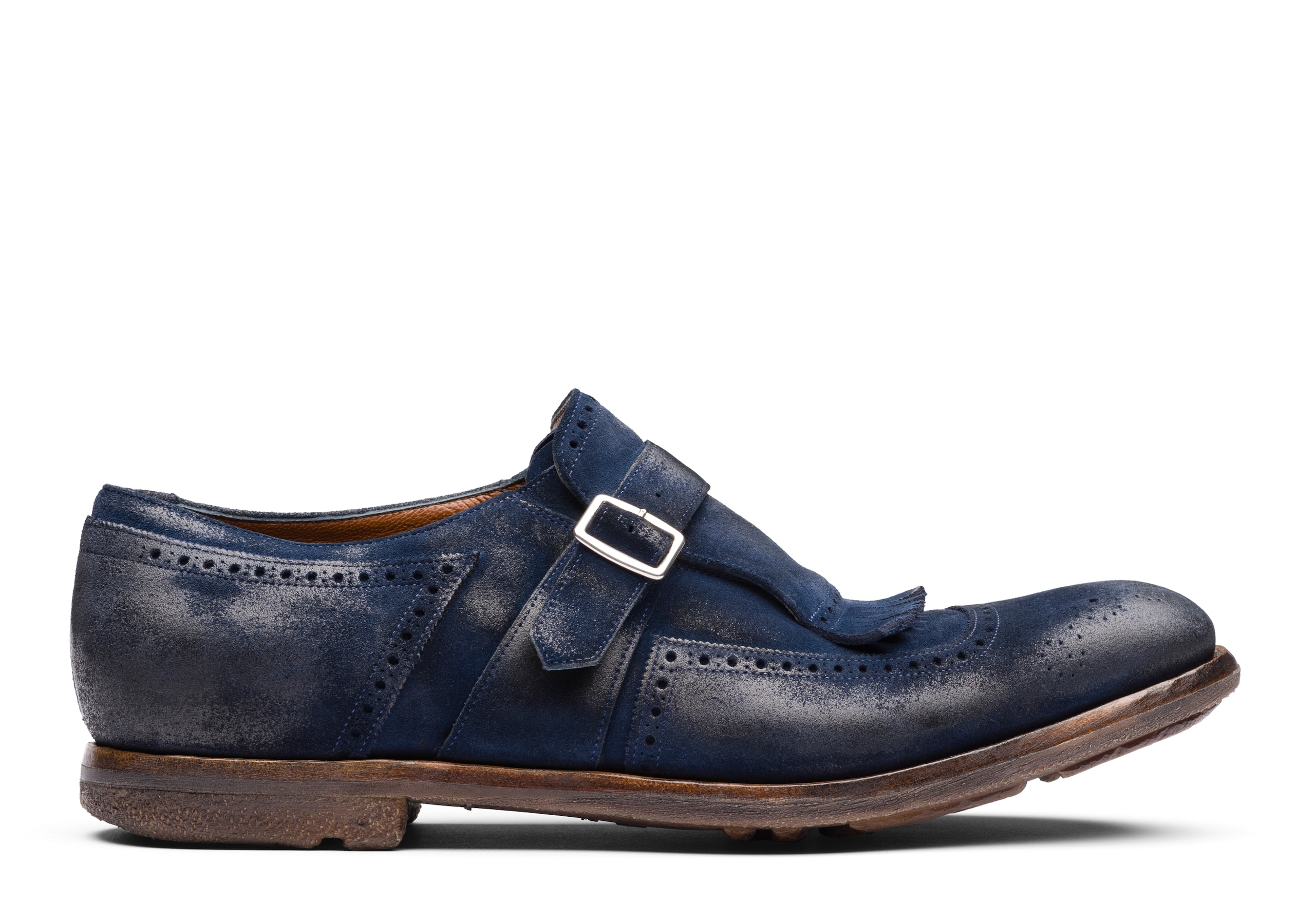 Shanghai Church's Vintage Suede Buckle Loafer Blue