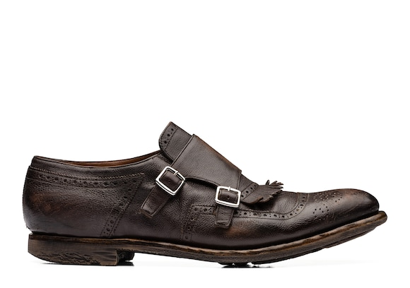 Church's true Glacè Calf Leather Monk Strap Ebony
