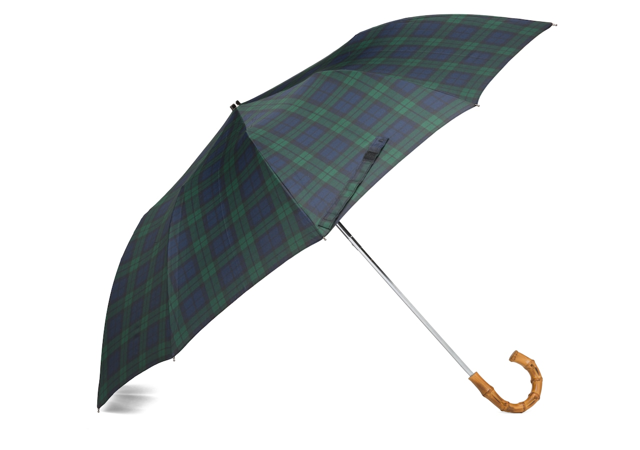 Telescopic umbrella Church's Tartan Whangee Handle Geometric Print