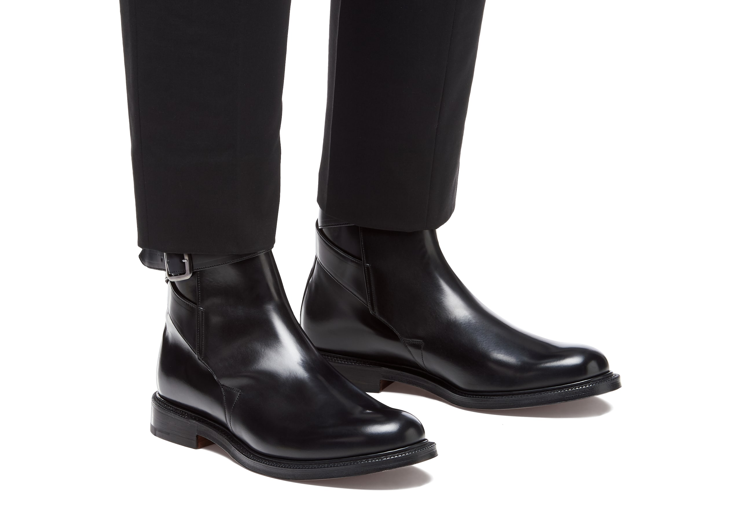 Worthing Church's Polished Binder Leather Strap Boot Black