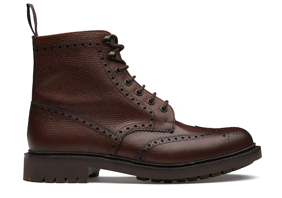 Church's true Stivale Brogue Stringato in Pelle Pieno Fiore Highland Marrone