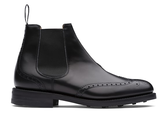 Church's true Stivale Chelsea Brogue in Pelle di Vitello Nero