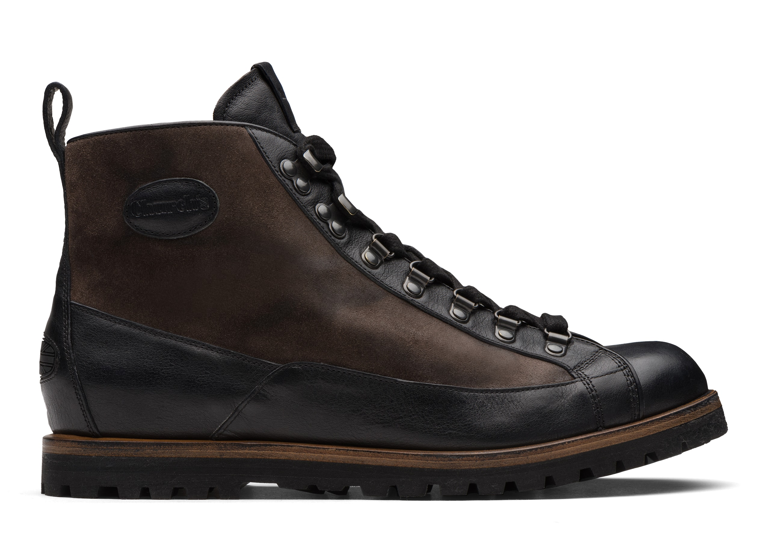 Coxbridge Church's Vintage Calf & Suede Lace up Boot Black