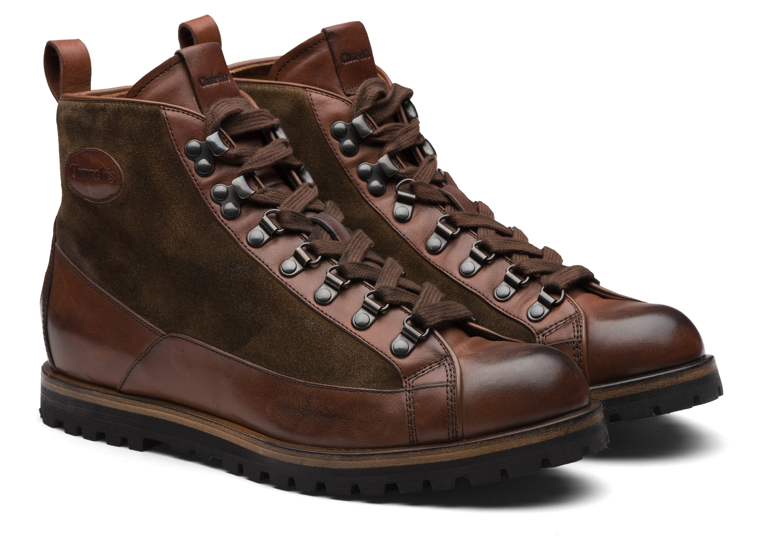 Coxbridge Church's Vintage Calf & Suede Lace up Boot Brown