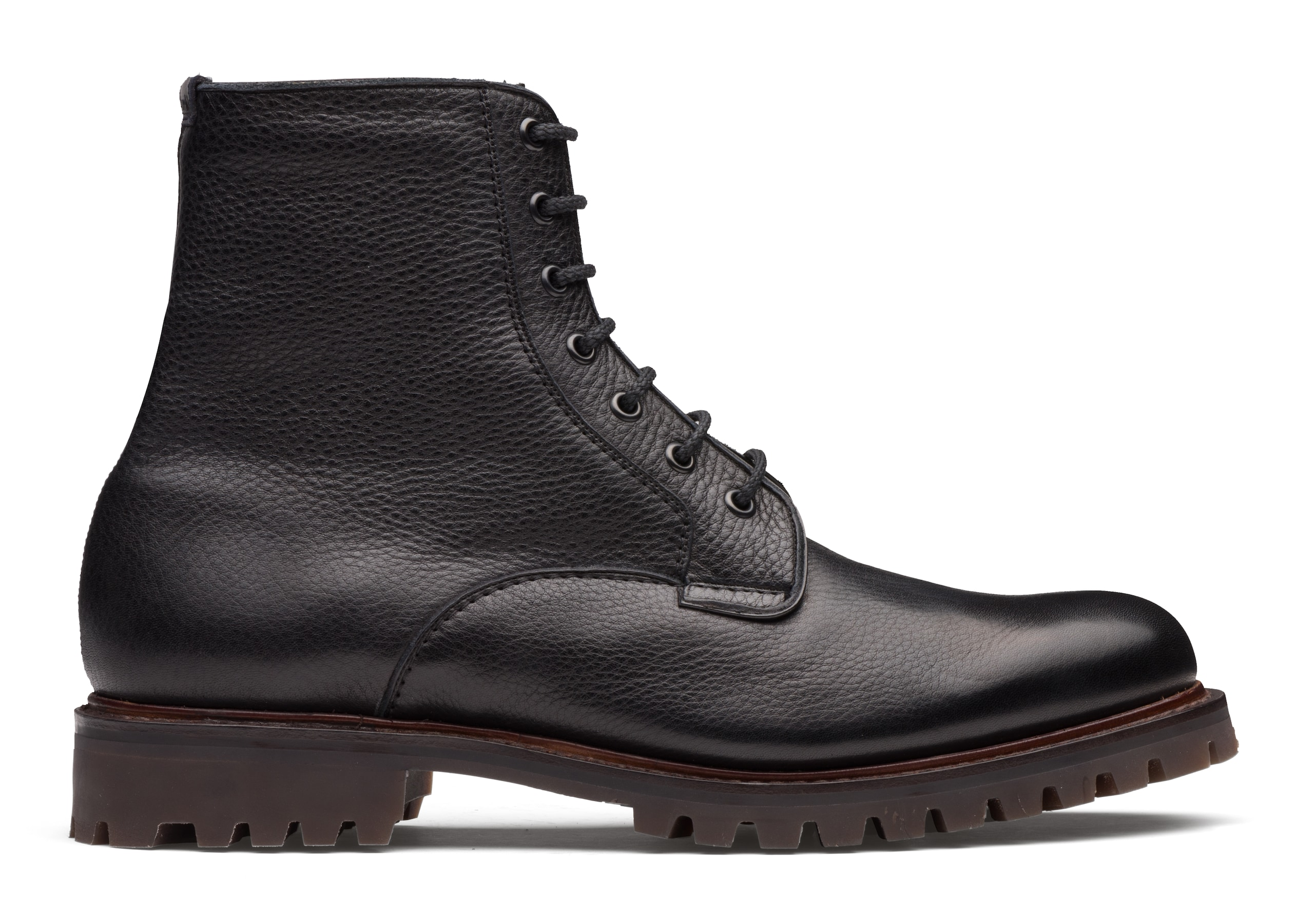 Coalport Church's Soft Grain & Fur Lace-Up Boot Black