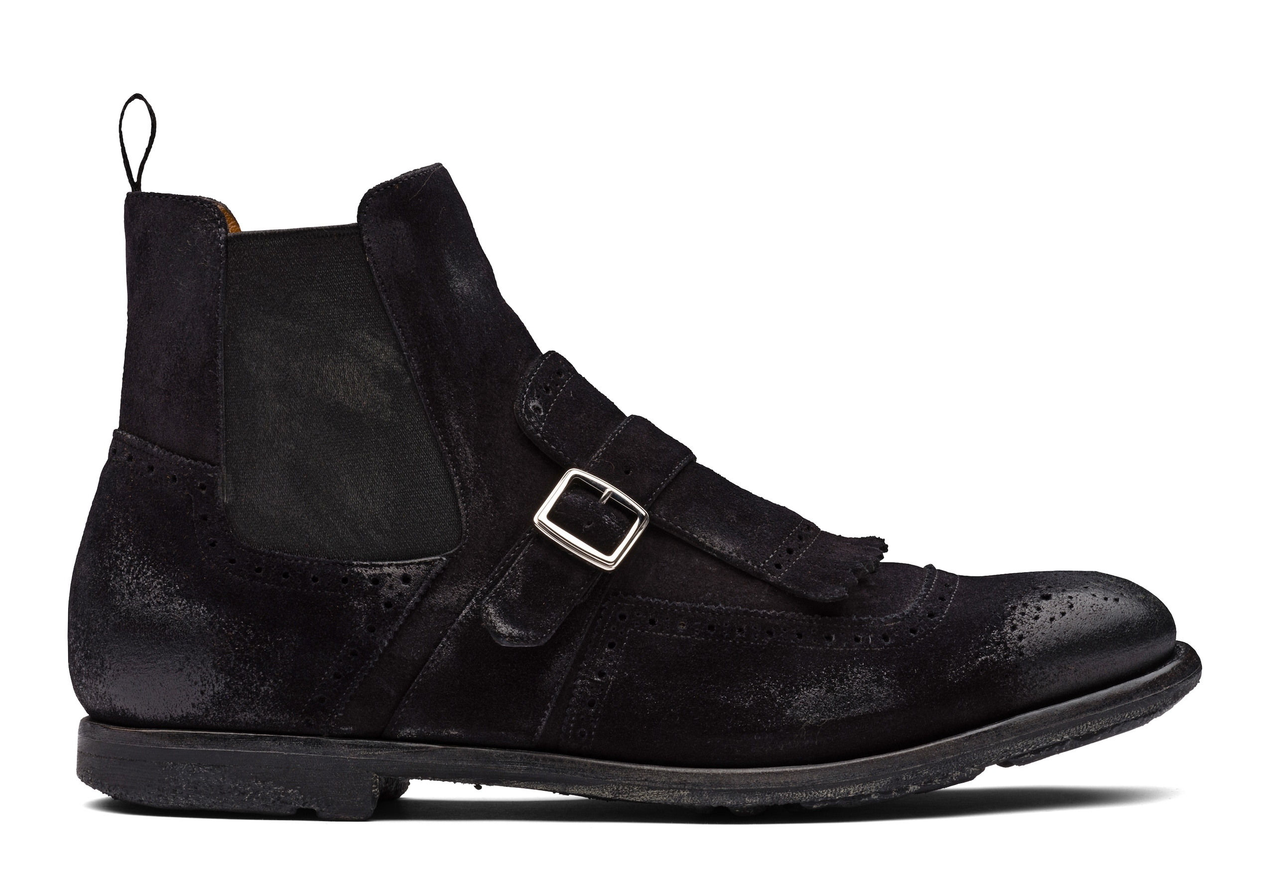 Shanghai 6 Church's Vintage Suede Chelsea Boot Black