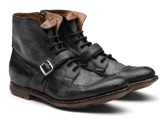 Church's  Glacè Calf and Nylon Lace-up Boot Black/anthracite