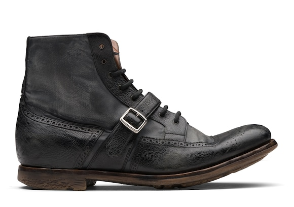 Church's Shanghai 12 Glacè Calf and Nylon Lace-up Boot Black/anthracite