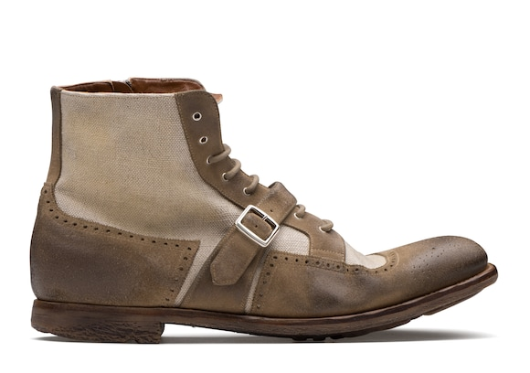 Suede and Linen Lace-Up Boot