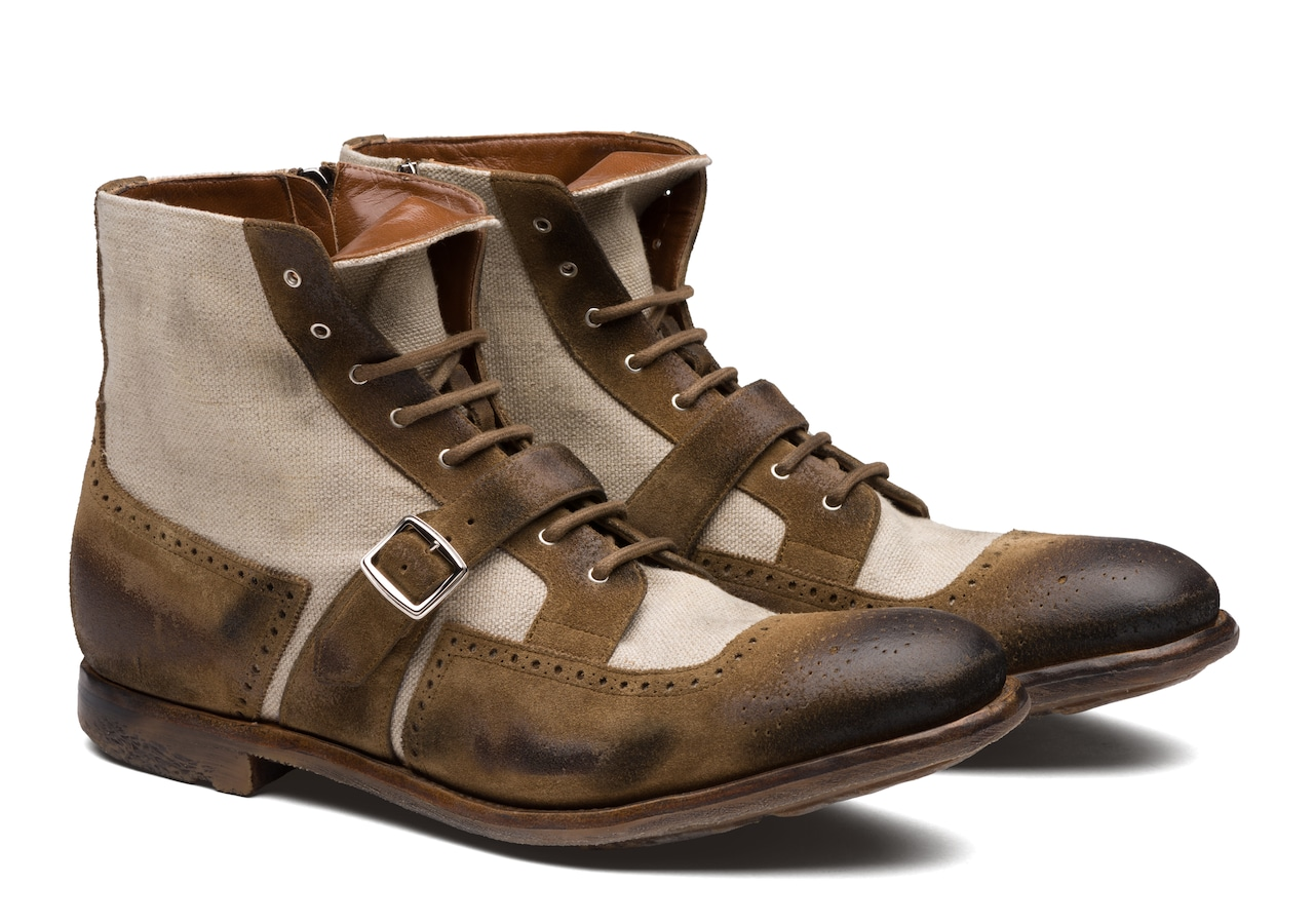 Shanghai 12 Church's Suede and Linen Lace-Up Boot Brown