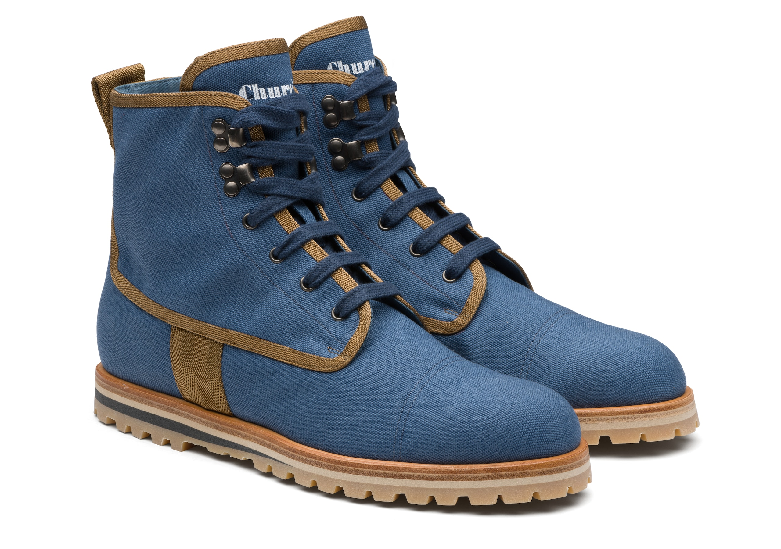 Docklow Church's Canvas Lace-up Boot Blue