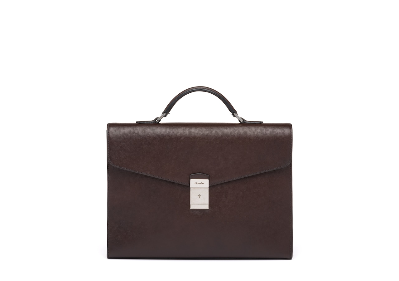 Warwick Church's St James Leather Briefcase Brown