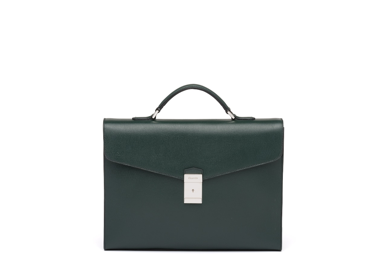 Warwick Church's St James Leather Briefcase Green