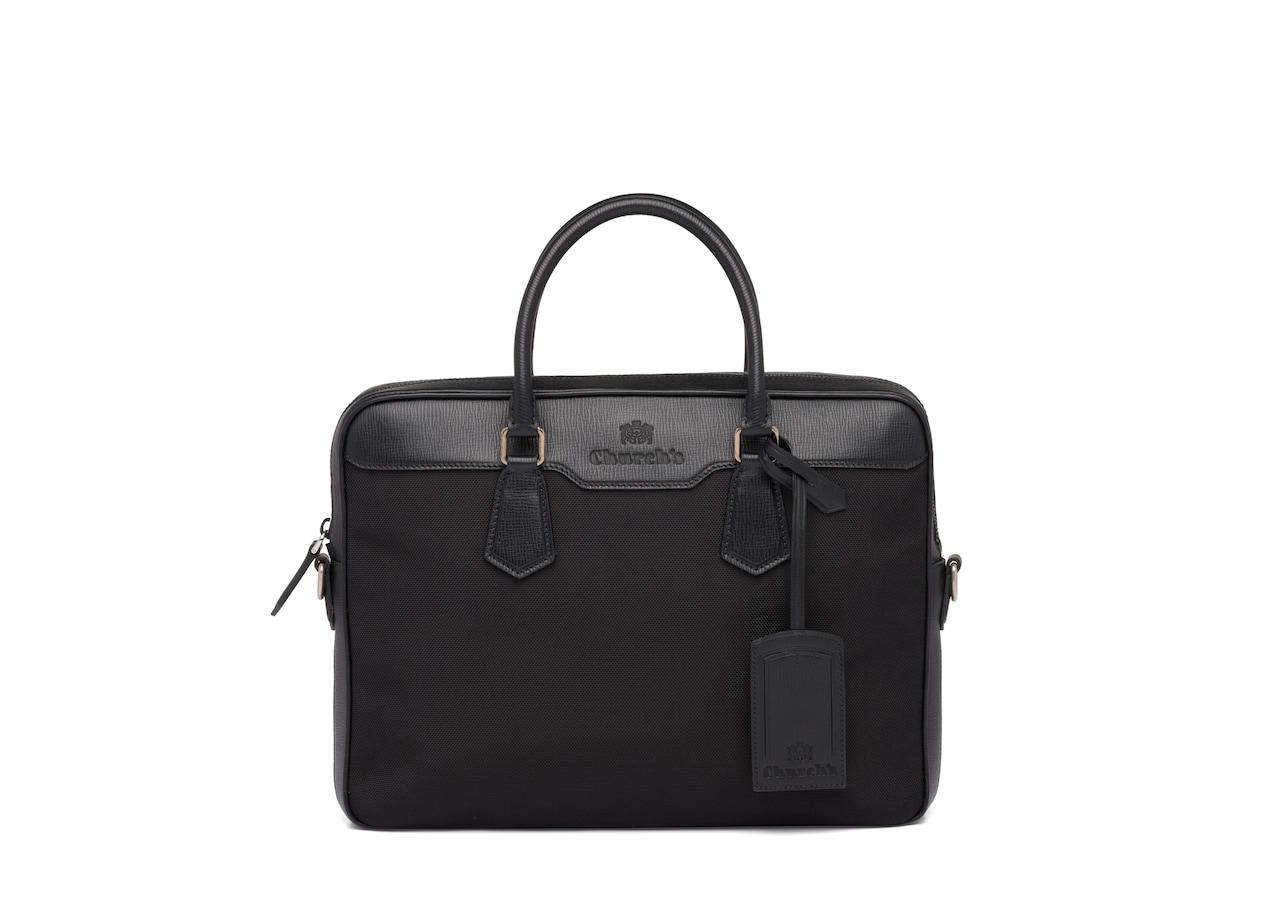 Craven Church's St James Leather Tech Laptop Bag Black
