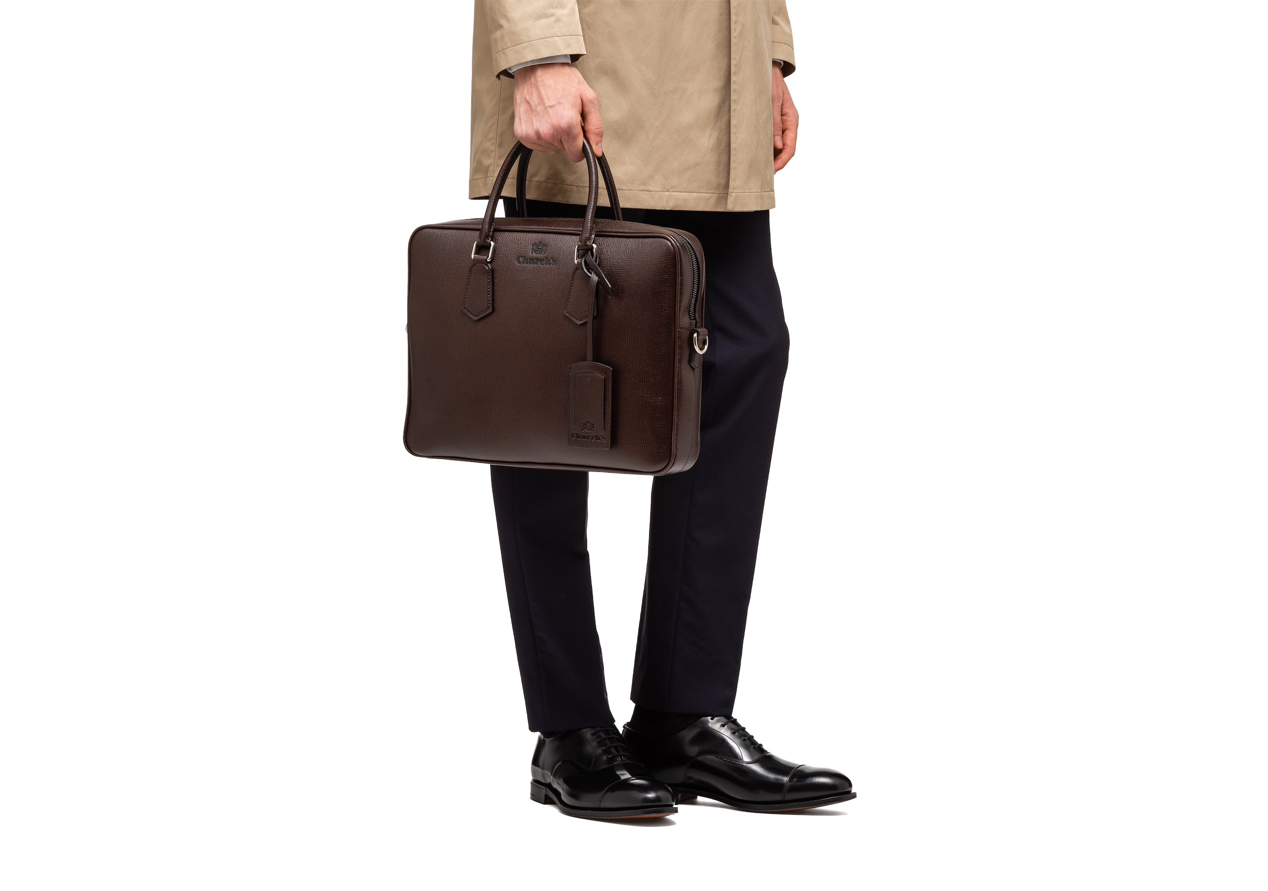 Craven Church's St James Leather Laptop Bag Brown