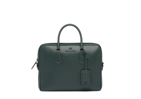 Church's true St James Leather Laptop Bag Emerald