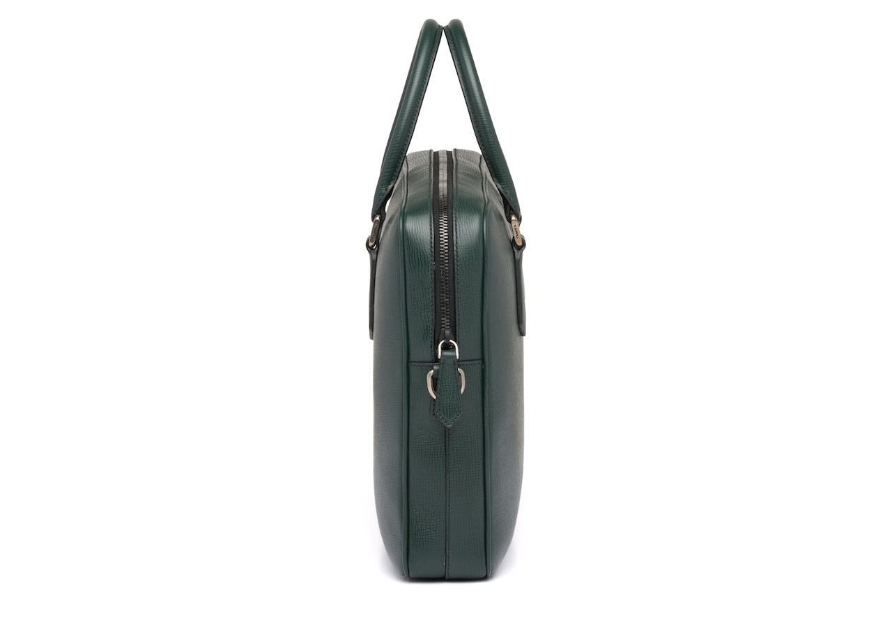 Craven Church's Sac pour ordinateur portable en cuir St. James Vert