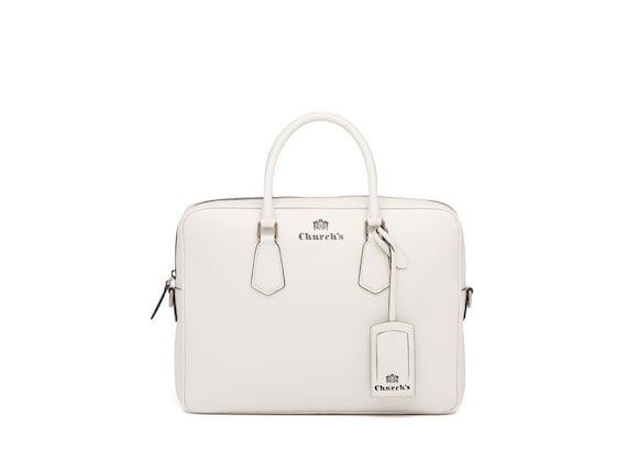 Church's true St James Leather Laptop Bag Chalk white
