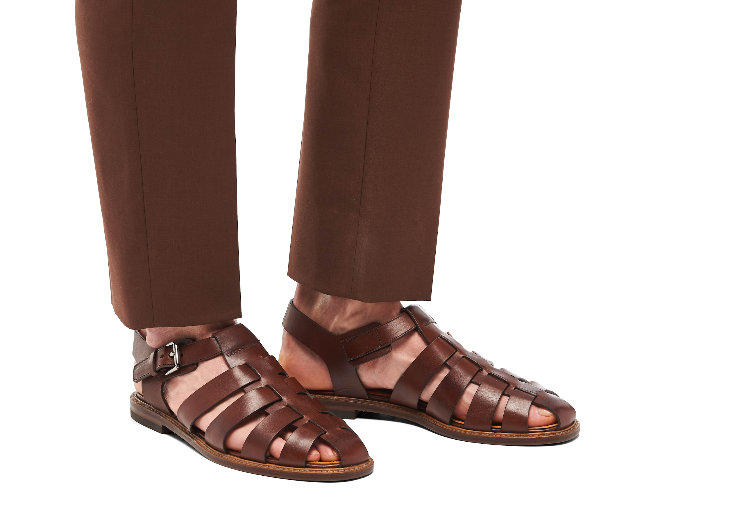 Barney Church's Calf Leather Open Back Sandal Brown