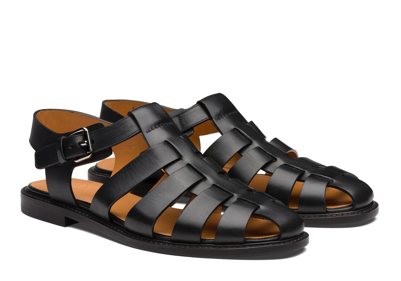 Barney Church's Calf Leather Open Back Sandal Black